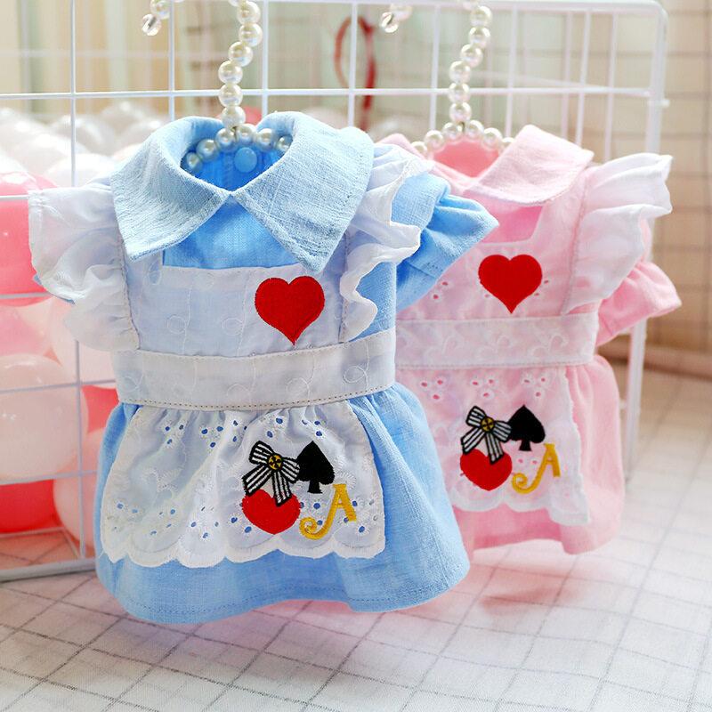 Trang Phục Hóa Trang Công Chúa 2 Màu Cho Chó Kakaoppa, Váy Tạp Dề Xếp Nếp Màu Trắng Cho Chó Mèo Nữ