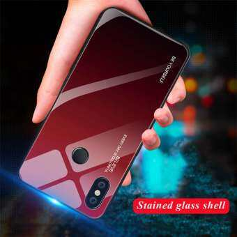 Gradient กระจกเทมเปอร์ Soft EDGE ฝาหลังสำหรับ Xiaomi Redmi หมายเหตุ 6 Pro ฝาครอบป้องกัน-