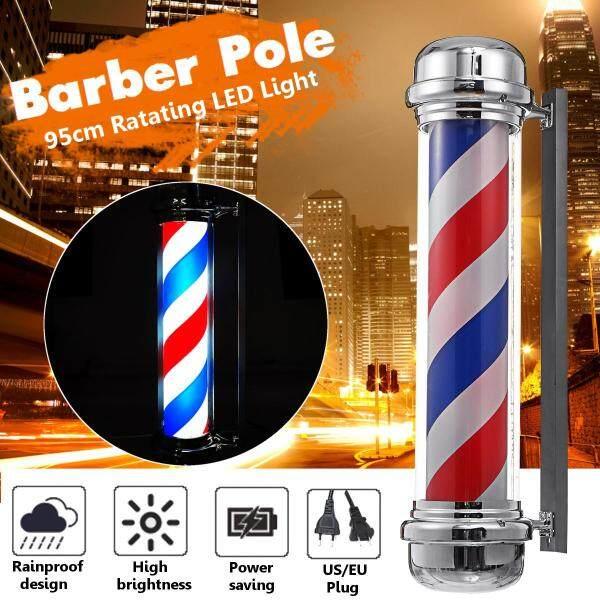 EU Plug 220V Large LED Hair Salon Light Barber Pole Red White Blue Stripes Rotating Sign 95cm