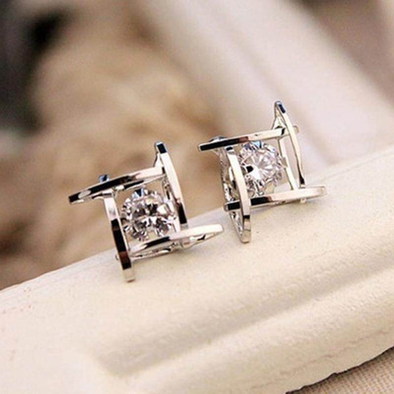 New Fashion Women Earring Hollow Out Square Zircons Earrings Ear Studs Best Portal