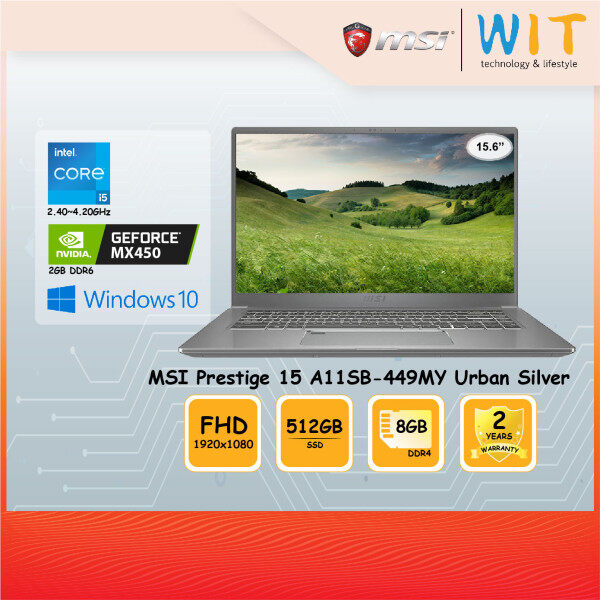 MSI Laptop Prestige 15 A11SB-449MY Urban Silver/Intel Core i5-1135G7 2.40~4.20GHz/8GB DDR4/512GB SSD/15.6FHD/NVD MX450 2GB DDR6 Malaysia