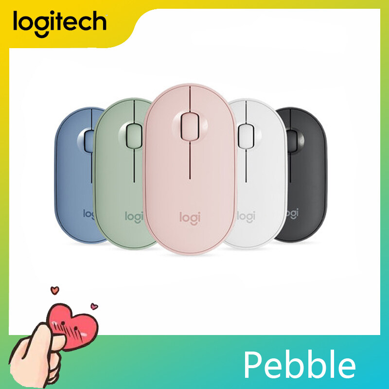 Logitech Pebble Wireless Mouse, Bluetooth + 2.4 GHz USB Receiver, Dual Connectivity, Silent, 1000DPI, for PC Computer
