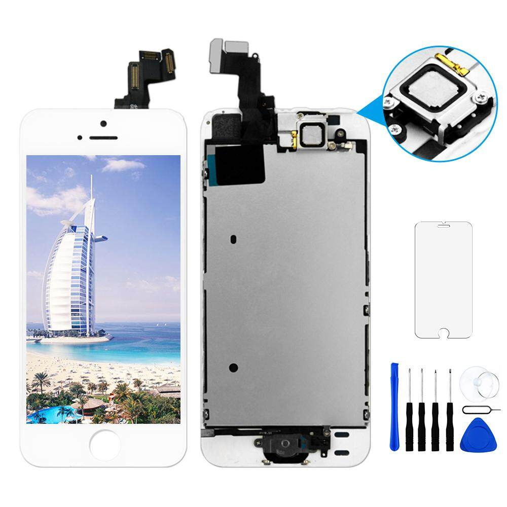 100% Tested No Dead Pixel Class AAA LCD Screen Replacement Spare Parts For Apple iPhone 5S Display + Digitizer Assembly with Home Button+ Speaker+ Front Camera For iPhone 5s A1453 A1457 A1518 A1528 A1530 A1533