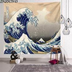 Tấm Thảm INSOUND Treo Tường Tấm Thảm Sóng Lớn Chăn Treo Tường Tấm Thảm Vải Nền Nhật Bản Kanagawa Surf Ukiyo-e