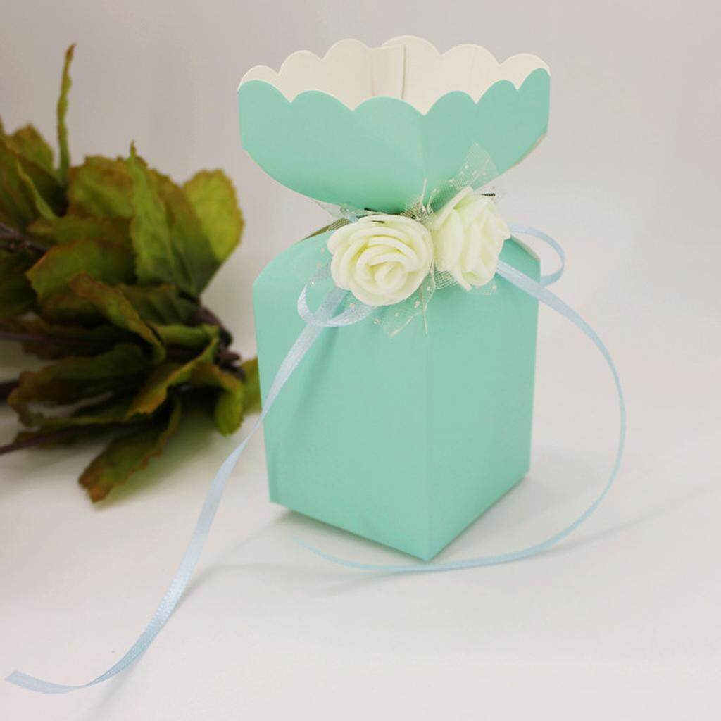 Loviver 50pcs Rose Flowers Ribbon Candy Gift Boxes Wedding Party Favor Decor Blue