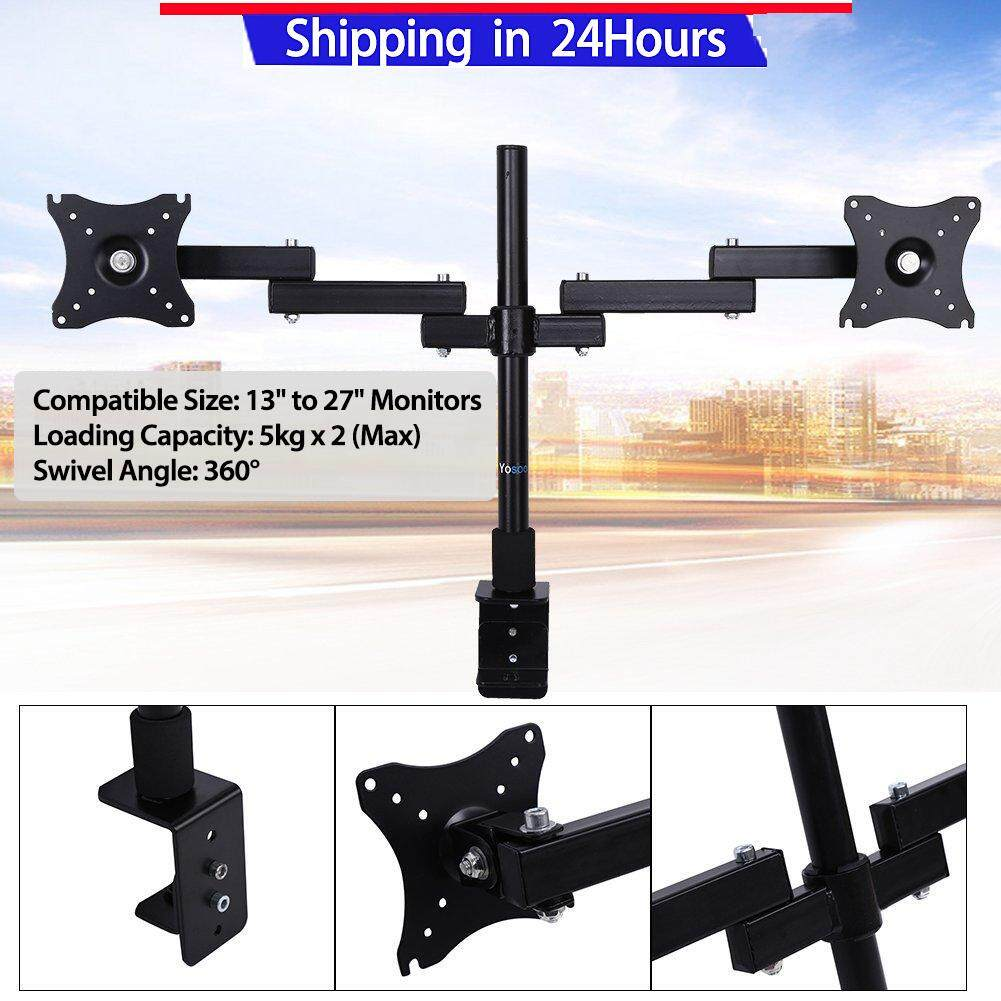 """【Buy 1 Get 1 Free Gift】Mount Stand Dual LCD Monitor Desk Mount Stand Fully Adjustable Screen up to 27"""" for Computers"""