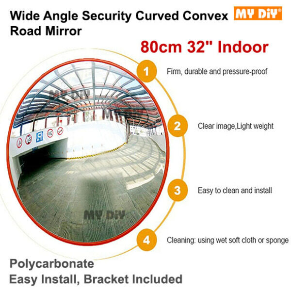 MYDIYHOMEDEPOT - 60cm / 80cm Outdoor Indoor Convex Mirror / Convex Polycarbonate Traffic Mirror, Orange color, for Road Safety and Shop Security with Bracket / Wide Angle Security Curved Convex Road Mirror