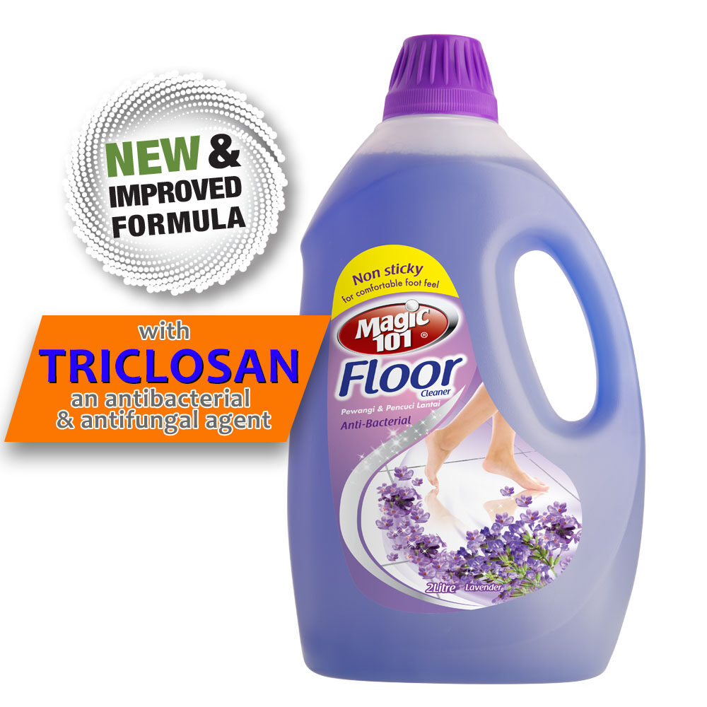 Magic101 Antibacterial Floor Cleaner with Triclosan 2 Liter - Lavender (New & Improved Formula)