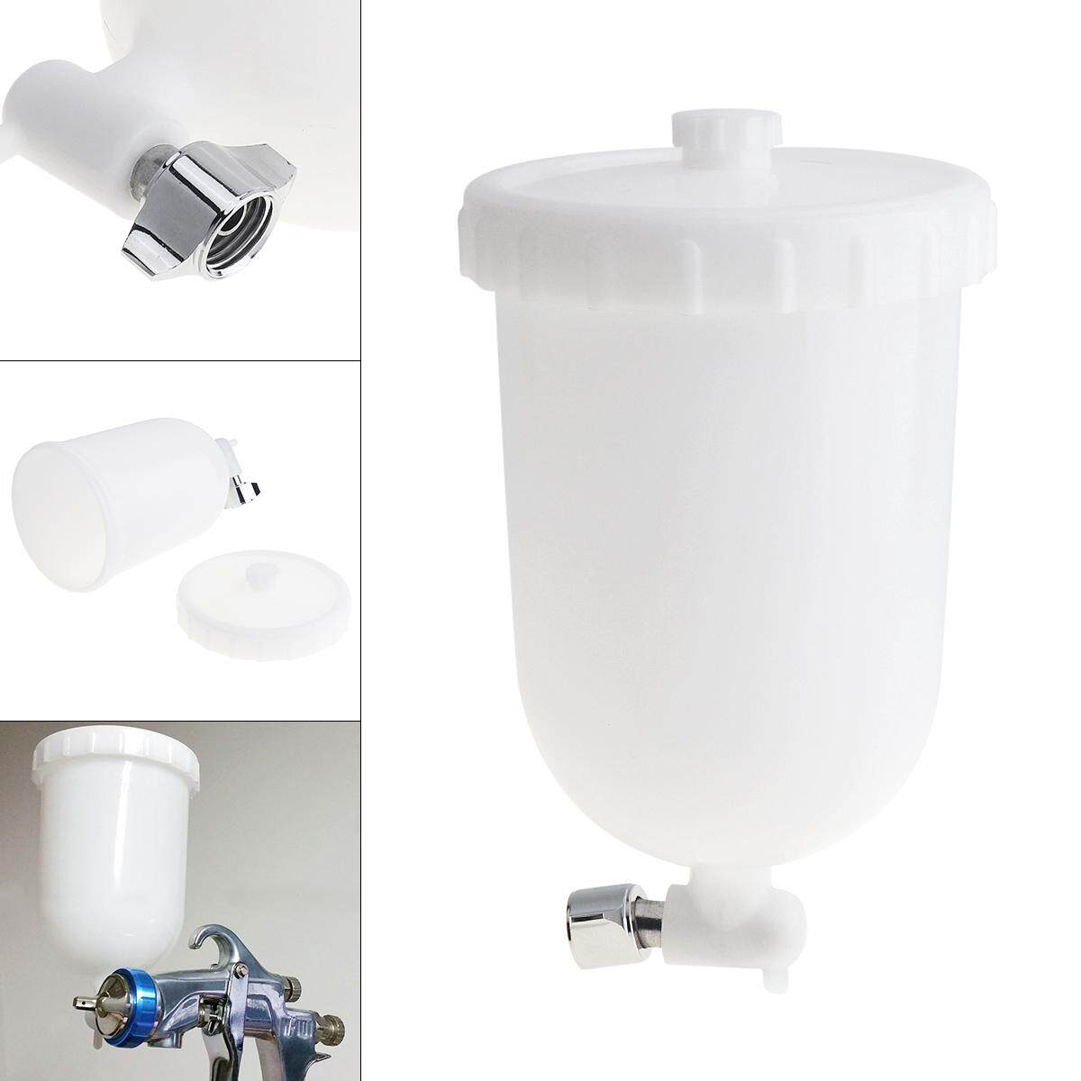 400ml White Spray Gun Paint Cup ABS Plastic Pot with 1/4 Interface Diameter Internal Thread for Holding Liquid