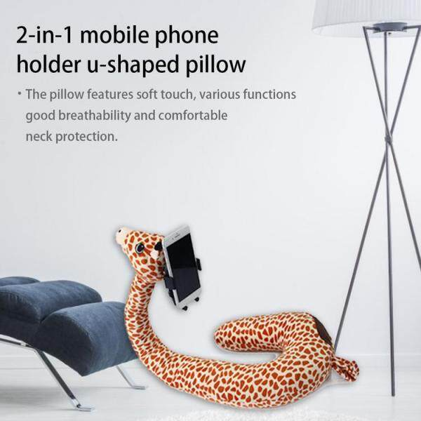 2-in-1 Mobile Phone Holder U-shaped Pillow Animal Cute Cartoon Neck Support Pillow for Home Travel