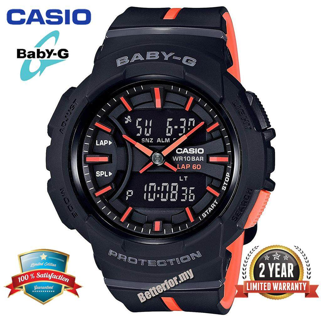 (Ready Stock)Original Casio Baby G_BGA-240L-1AJF Women Sport Digital Watch Duo W/Time 200M Water Resistant Shockproof and Waterproof World Time LED Light Girl Wist Sports Watches with 2 Year Warranty BGA240/BGA-240 Black Orange Malaysia