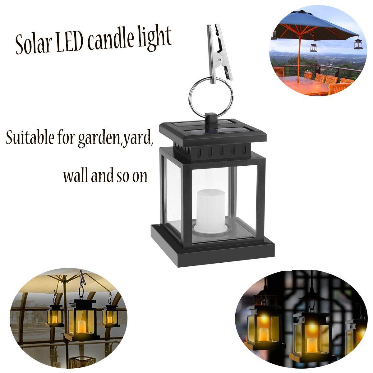 Waterproof Flickering Flameless Solar LED Candle Light Hanging Lantern Smokeless for Outdoor Garden Yard Lawn Patio Camping Tent