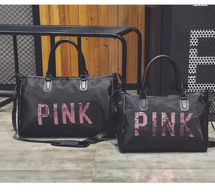 1326985c9d97 Pink sequin letter short-distance travel bag portable large-capacity fitness  bag waterproof duffel