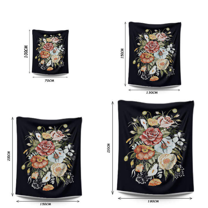 Black Flowers Tapestry Room Decoration Aesthetic Tapestry Wall Hanging Bedroom Accessories Polyester Fabric Cloth Wall Decor Hanging S M L Lazada