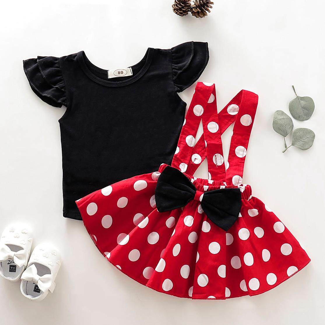 eb3297e90f2a3 (TWINKLE) Infant Kids Baby Girls Soild T-Shirt Top+Dot Print Bow Skirt  Outfits Set Clothes