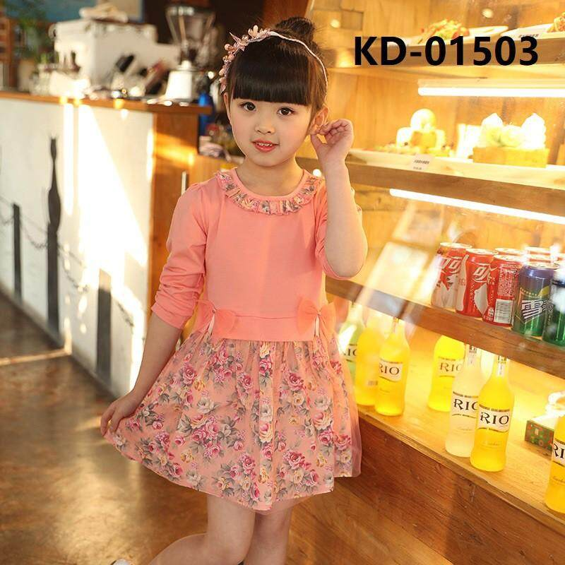 Kid Girl Korean Version Velvet Thick Dress Long Sleeve Lace Baju Kanak Mb Lazada