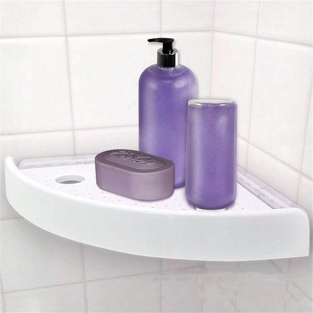 ZH Snap Up Corner Shelf Triangle Fan-shaped Bathroom Wall Corner Mount Storage Holder Rack with Hooks Specification:23 * 23 * 4.5cm  white