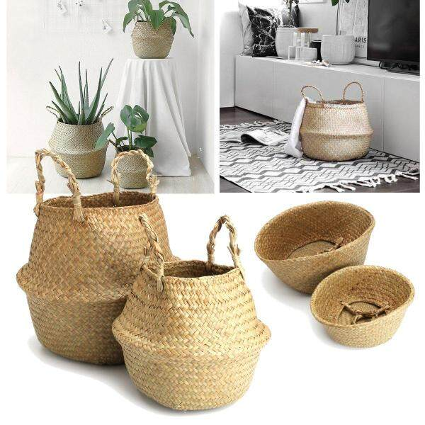 Seagrass Belly Basket Natural Storage plant Toys Laundry Home Panier Boule-32X28cm+22X20cm