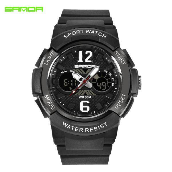SANDA Children  LED Digital Quartz Dual Display Watches Alarm Chronograph 30m Waterproof Shock Resistant Multiple Time Zone Alarm Watch Malaysia