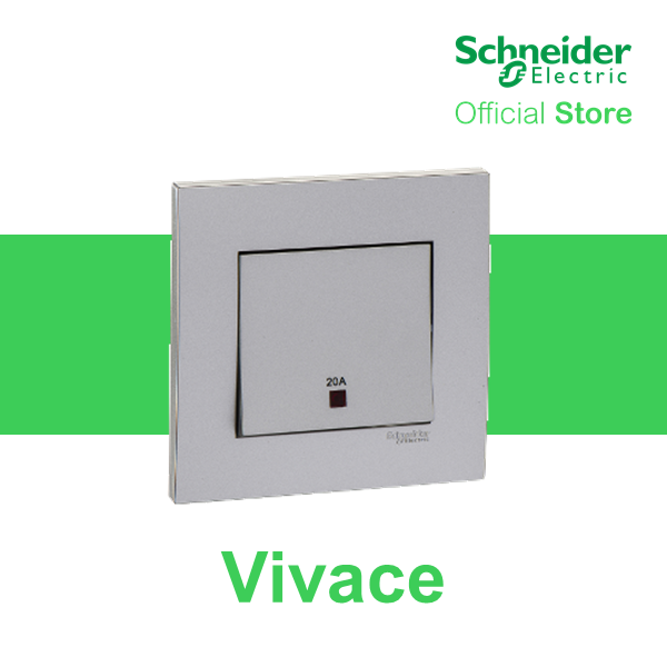 Schneider Electric Vivace 20A 1 Gang Double Pole Switch with Neon and Earth, Aluminium Silver