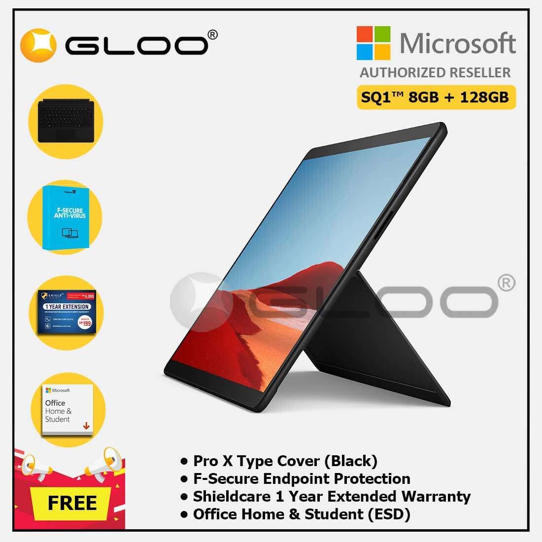 Microsoft Surface Pro X SQ1™/8GB RAM -128GB LTE Black + Pro X TC Black + Shield Care 1 Year + F-Secure 1 Year + Office Home & Student (ESD) Malaysia