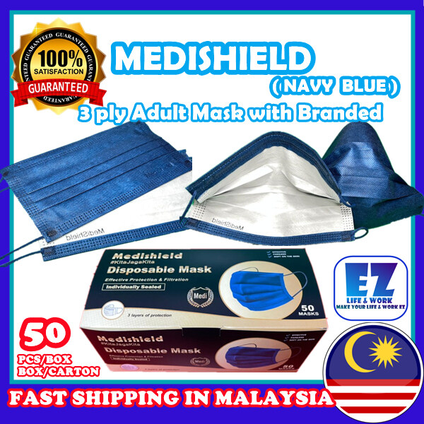 [FREE SHIPPING] (50pcs with Branded) MEDISHIELD Navy Blue 3ply Adult Face Mask / Adult Mask / Blue Mask / Black Mask / Topeng Muka / Soft Mask / Thick Mask 3layer / Topeng Dewasa