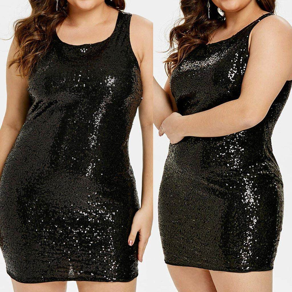 f0863a9bb6 Fashion Sexy Womens Plus size Sleeveless Solid O-Neck Sequin Bodycon Dress
