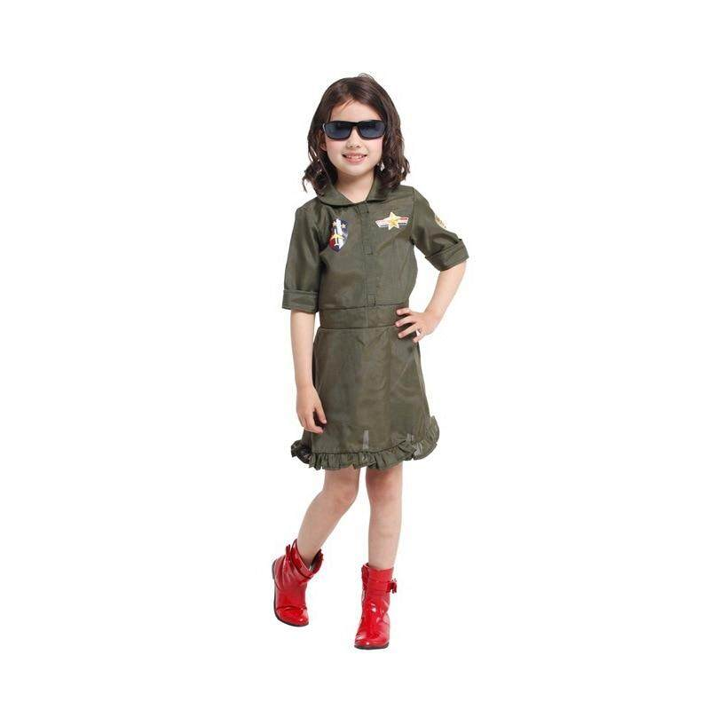Girls Dresses Halloween Costume Polyester Kids Career Role Cosplay Fancy Green Clothing Costumes