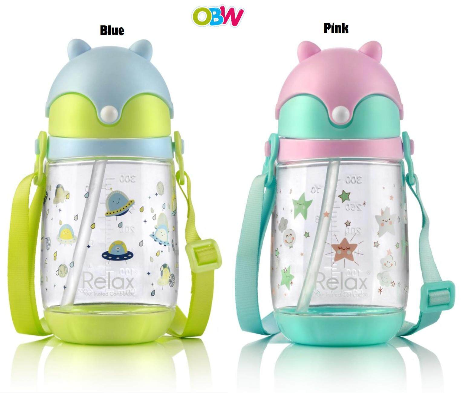 Relax 350ml Tritan Kids Water Bottle - D7535 Blue / Pink By Onebabyworld.