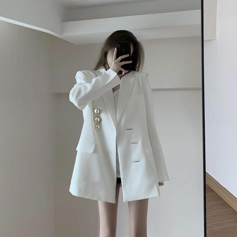 Kayleigh Áo Khoác Vest Thiết Kế Phong Cách Anh Cho Nữ Áo Khoác Blazer Mỏng Không Đều Một Hàng Khuy Mùa Xuân, Nữ