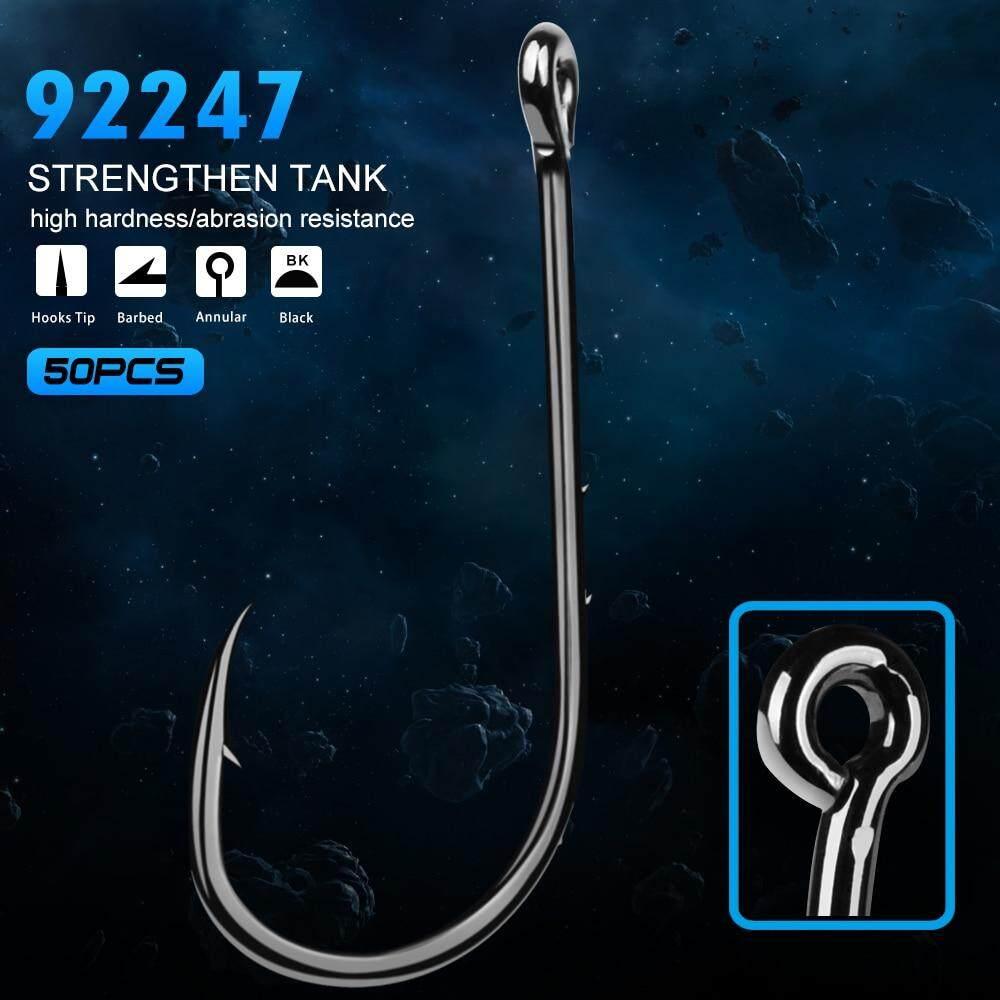New Lot 50pcs High Carbon Steel Hook Jig Big Black Fishing Hooks Treble 1#-8//0#