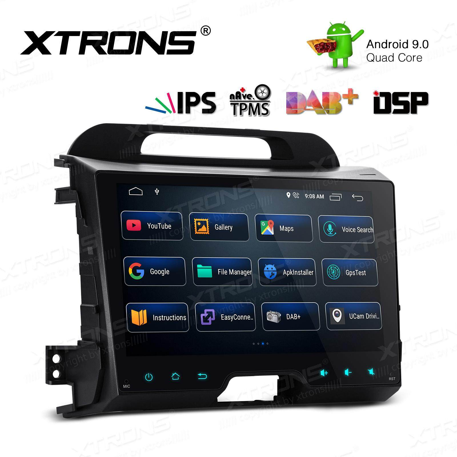 XTRONS Android 9.0 Head Unit Auto Radio GPS Sat Nav DSP In Dash Car Stereo Bluetooth with 9 Inch IPS Touch Screen Support WiFi DVR DAB Full RCA For Kia Sportage Series 3 2010-2016