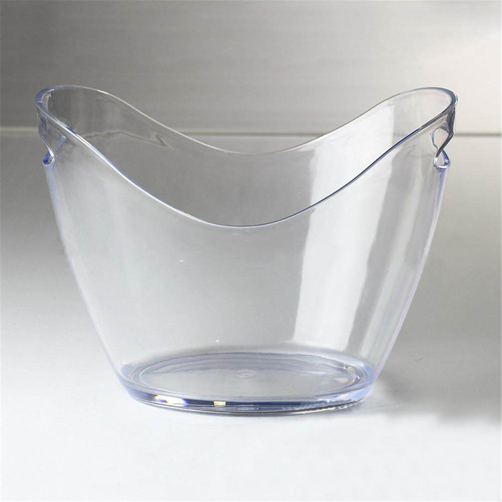 Transparent Ice Bucket for Champagne Cola Drinks Durable Material with Portable Handle