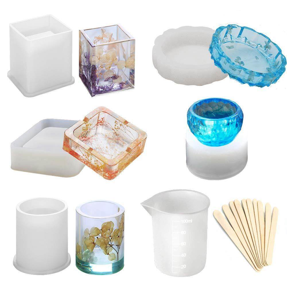 Resin Silicone Molds Large Art Molds For Casting Coaster/Ashtray/Flower Pot/Pen Candle Soap Jewelry Holder Includes Round Square Cylinder Small Bowls With Mixing Cups Wood Sticks