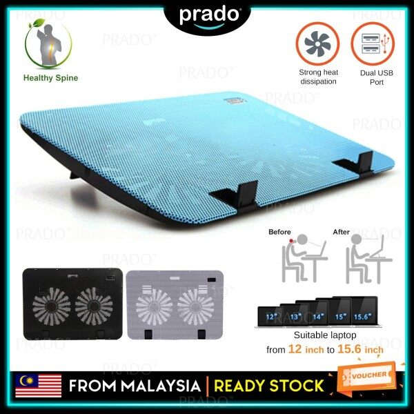 PRADO Malaysia Powerful Dual USB Laptop Cooling Pad Cooler Fan Large 2 Fans Adjustable Height for 12-15.60 inch Malaysia