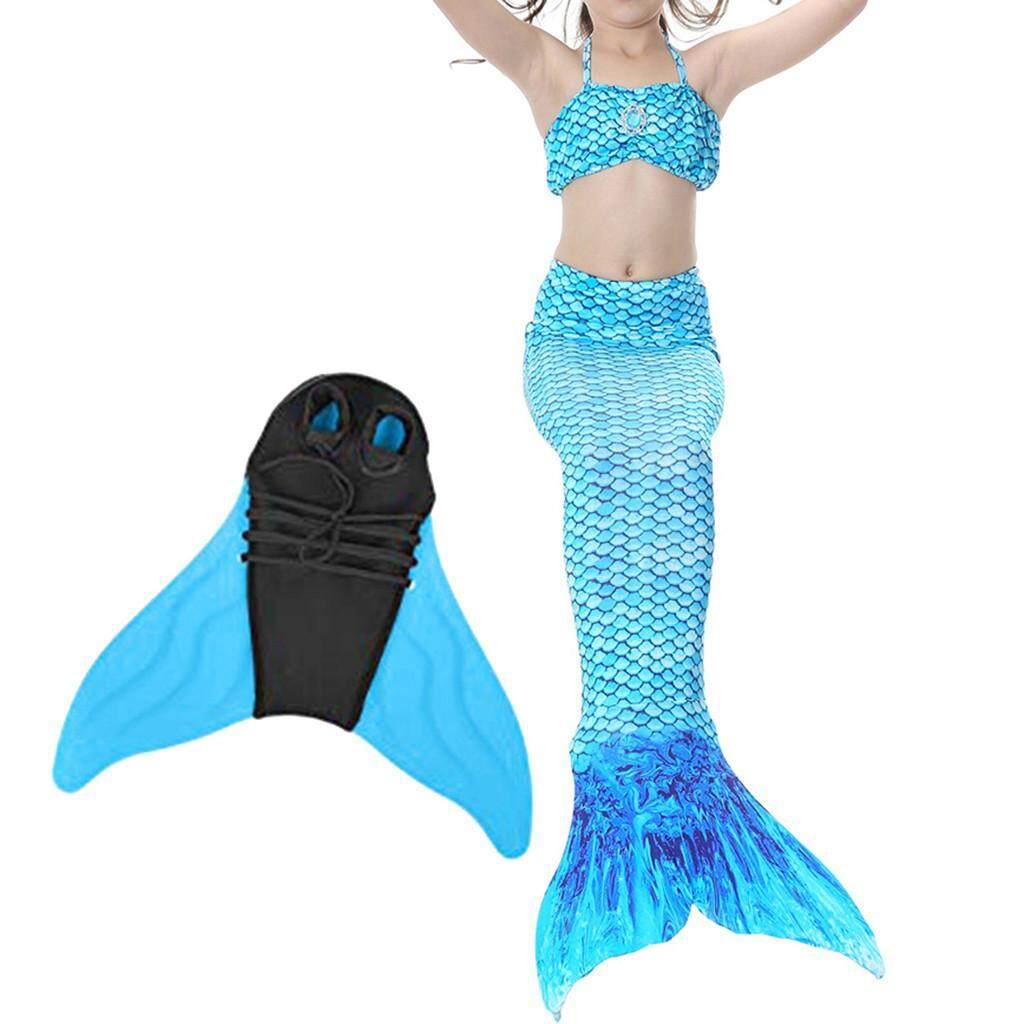 Giá bán 4 Cô Gái Trẻ Em Người Cá Swimmable Bikini Bộ Áo Tắm Quần Áo Web chân