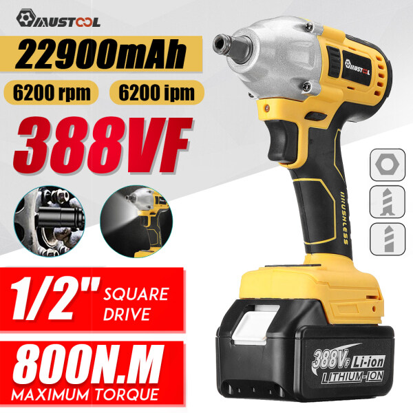 800N.m 1/2 Square Electric Wrench Brushless Impact Wrench 388V with Battery LED Light Cordless Wrench Power Tools for Makita 18V Battery