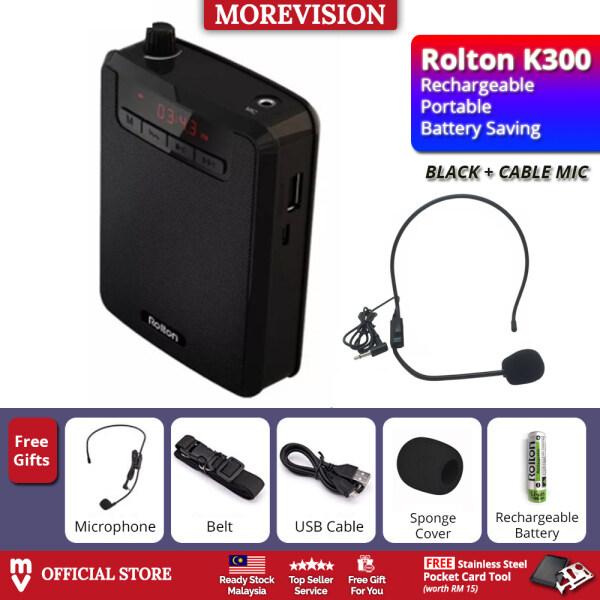ROLTON K300 Portable Loud Speaker Amplifier Wireless Mic Recorder MP3 +Free Gift Malaysia