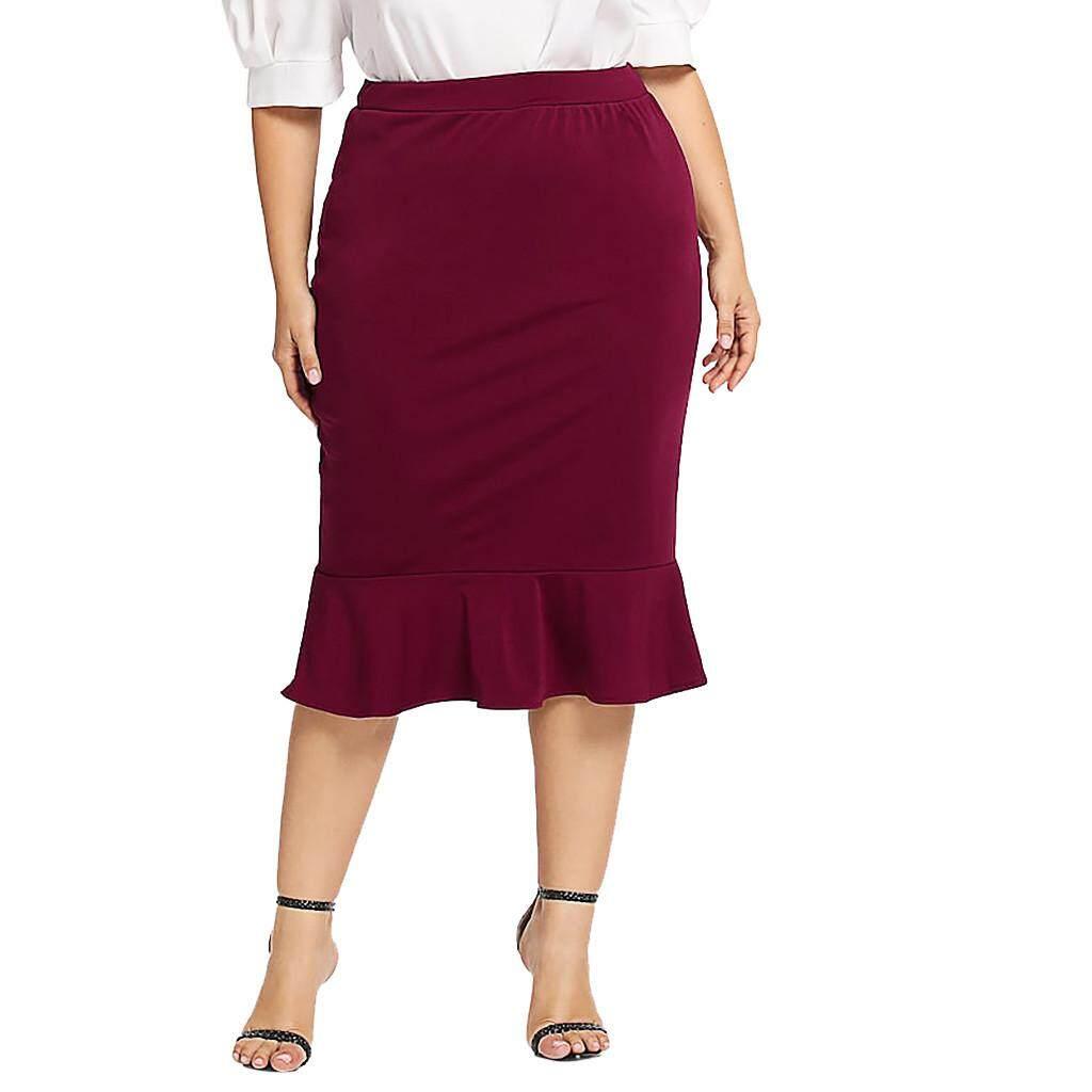 e23e622dbf Fashion Womens Casual Elastic Waist Plus Size Solid Mermaid Hem Ruffles  Skirt