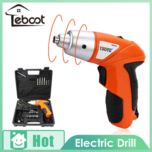 TeBoot 45PCS Portable Electrical Cordless Drill Screwdriver Mini Handy Drill Screwdriver Tools Multi-Function Cordless USB Rechargeable