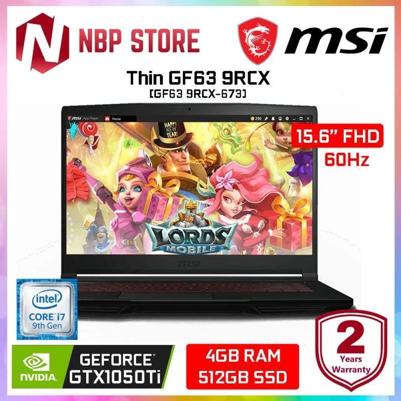 MSI Thin GF63 9RCX-673 15.6  FHD Gaming Laptop ( i7-9750H, 4GB, 512GB, GTX1050 Ti 4GB, W10 ) Malaysia
