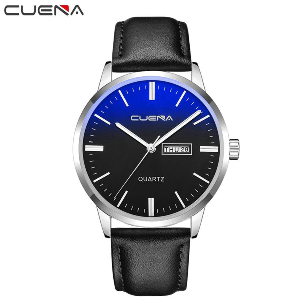 BPFAIR Luxury Fashion Faux Leather Mens Blue Ray Glass Quartz Analog Watches With Calen Malaysia
