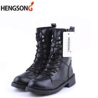 Giày bốt cho nữ kiểu dáng quân đội thiết kế cổ cao chất liệu da thời trang phong cách cao bồi - INTL thumbnail