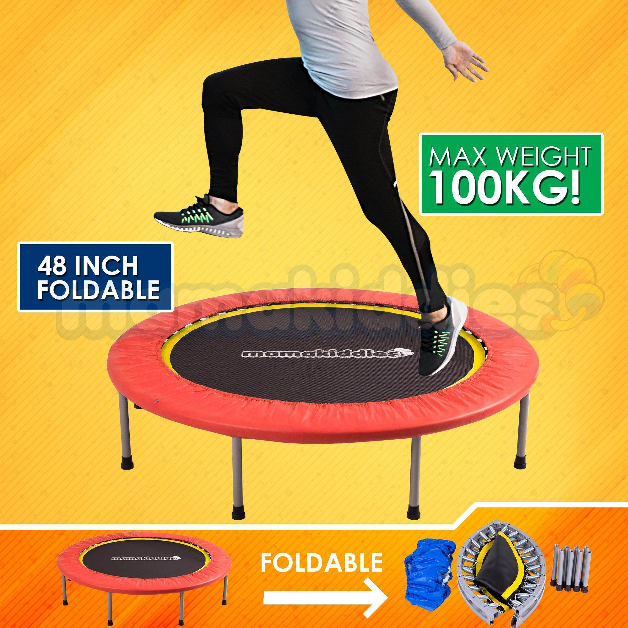 Mamakiddies Premium 48 Inch 4 Folds Foldable Kids & Adult Trampoline Fitness Slimming, Anti Stress,jumping Bouncer,physical Therapy For Autism & Exercise-Red By Mamakiddies.