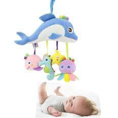 I Love Daddy&Mummy Động vật biển nhồi bông có gắn gương và chuông phát ra âm thanh dùng để treo trên xe đẩy và cũi trẻ em – INTL