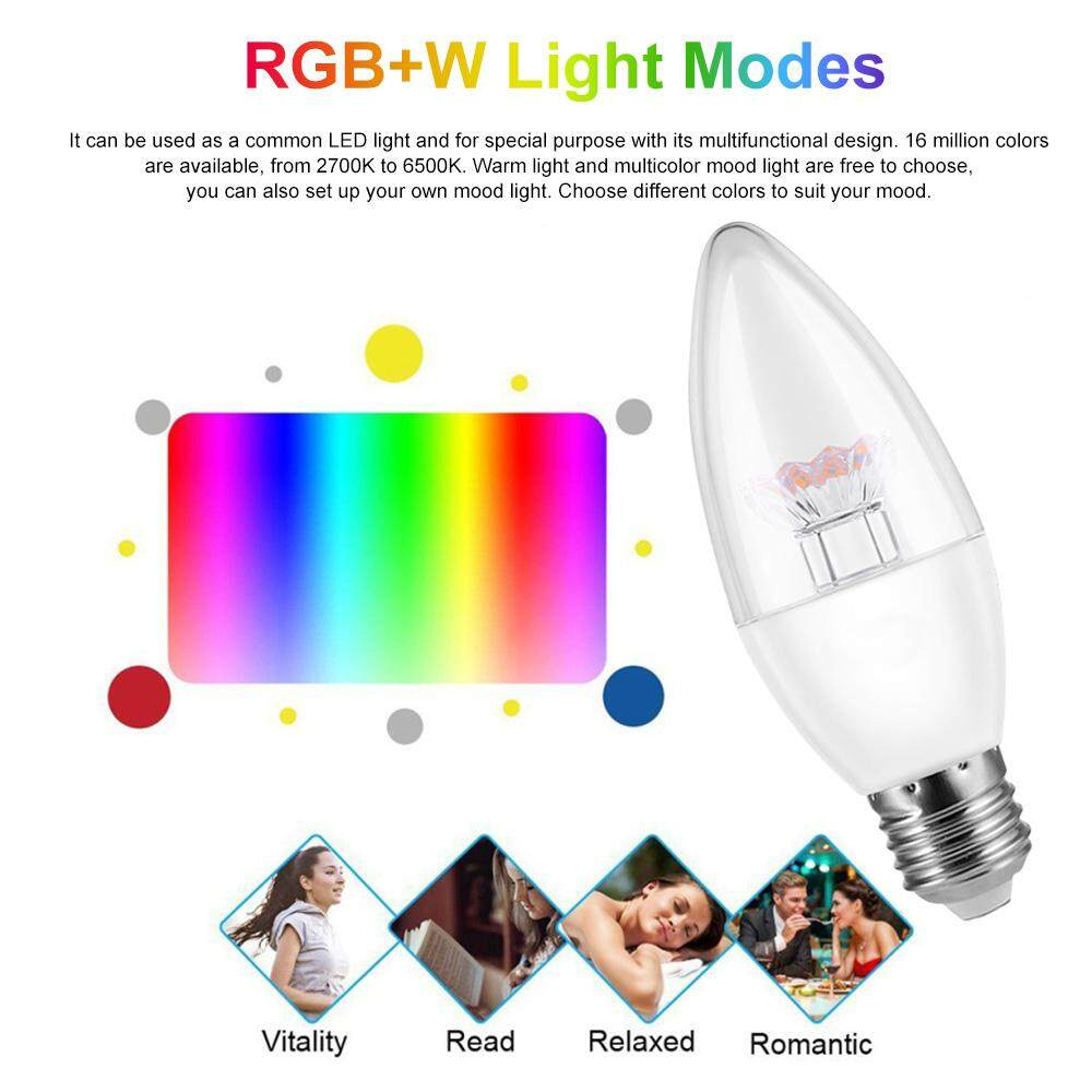 V16-C Smart WIFI L-ED Bulb RGB+W L-ED Candle Bulb 6W E26 Dimmable Light Phone Remote Control Group Control Compatible with Alexa Goo-gle Home Tmall Genie Voice Control Light Bulb