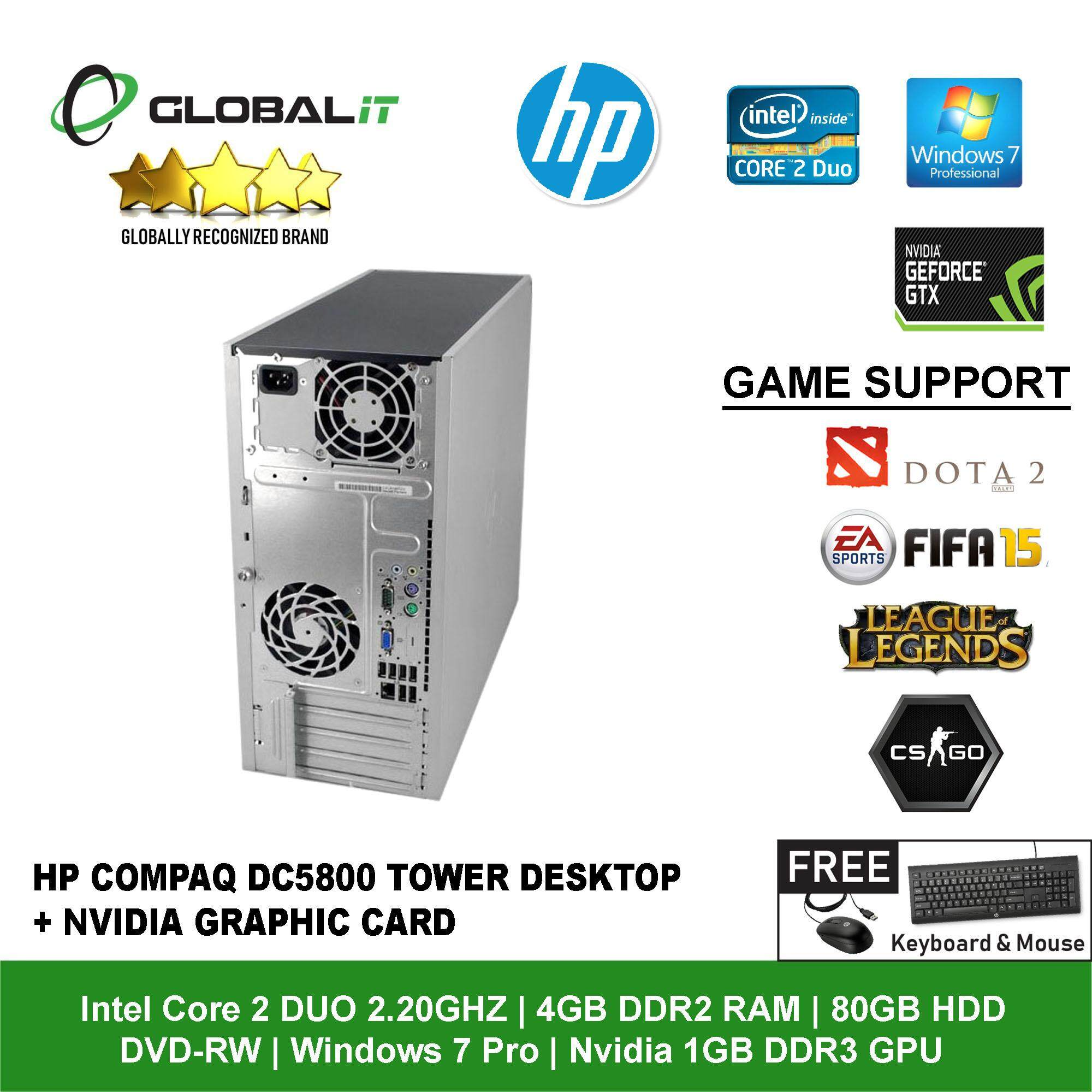 (Refurbished Desktop) HP Compaq DC5800 Tower / Intel Core 2 Duo / 4GB DDR2  Ram / 80GB HDD / DVD-RW / Windows 7 Professional / Gaming