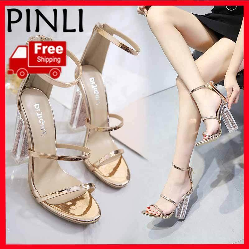 cace0264181 PINLI [Free Shipping] New Transparent Thick And High Heel Sandals Crystal  With Stiletto Heel Women's Shoes