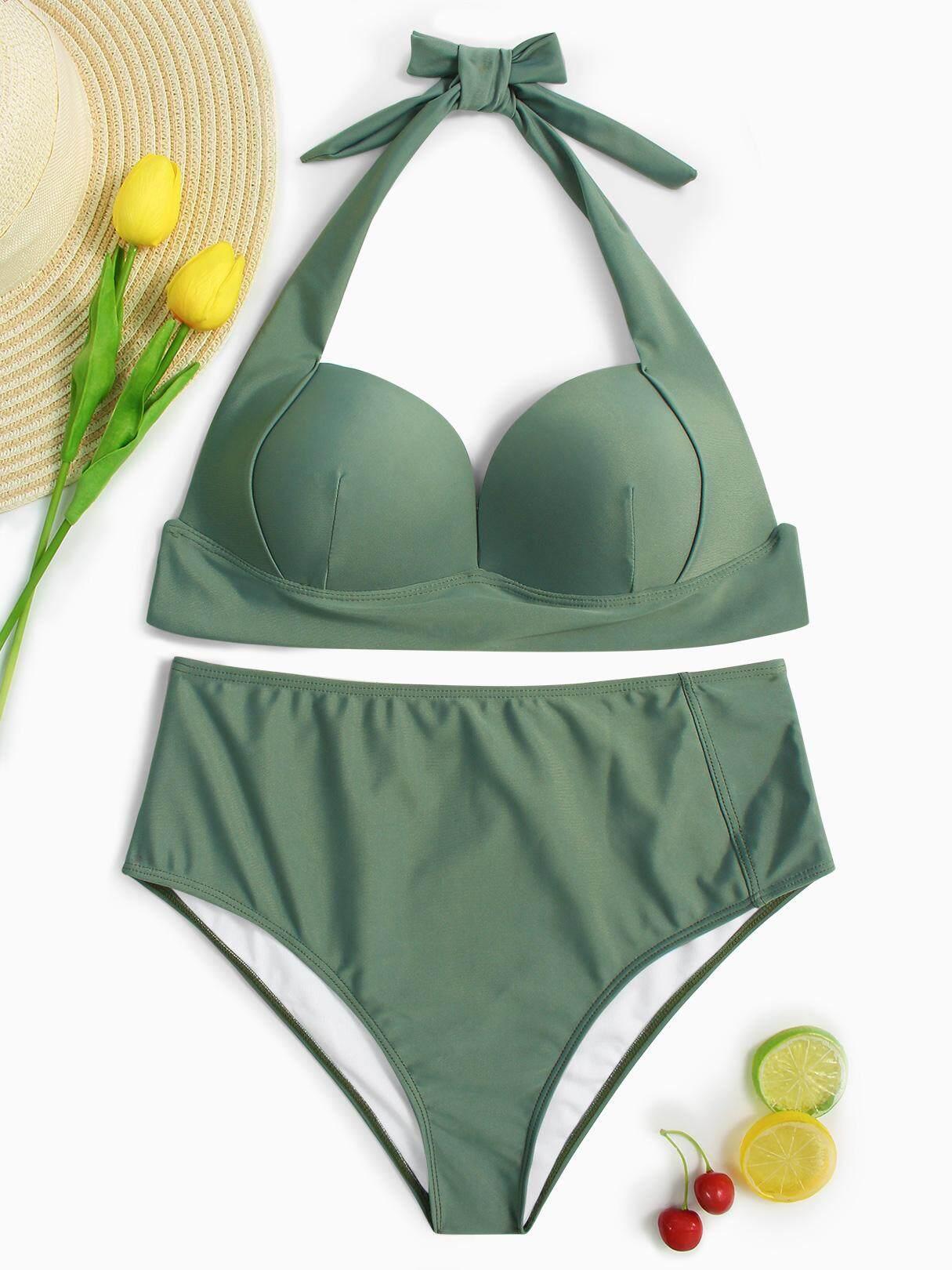 6064abd7ba9 YOINS 2019 Summer Women Halter V-neck Padded Design High-waist Bikini Set