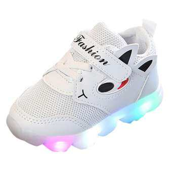 Tideshop เด็กวัยหัดเดินเด็กทารกผู้หญิงไฟ LED รองเท้าเด็กอ่อนส่องสว่างกลางแจ้งรองเท้ากีฬา-